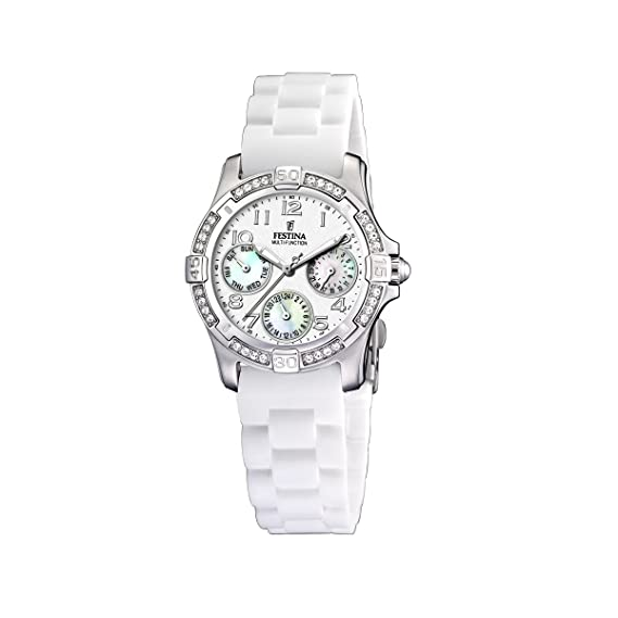 FESTINA F16021/D - Reloj de mujer de cuarzo, correa de plástico color blanco: Festina: Amazon.es: Relojes