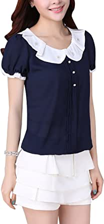 Tanming Women's Peter Pan Collar Short Sleeve Chiffon T-Shirt Blouse Tops