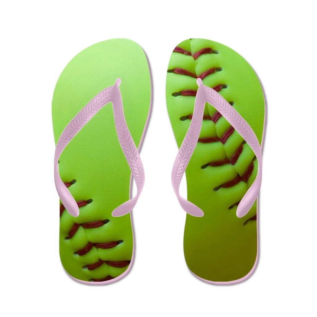 Lplpol Optic Yellow Fast Pitch Softball Flip Flops for Kids and Adult Unisex Beach Sandals Pool Shoes Party Slippers