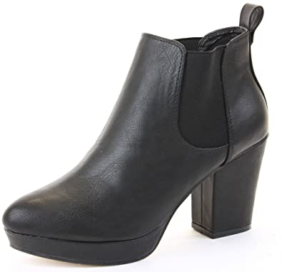 6772b5bdfd169 Womens Heeled Booties High Heels Block Shoes Platform Chelsea Ankle Boots  Size 3 - 8