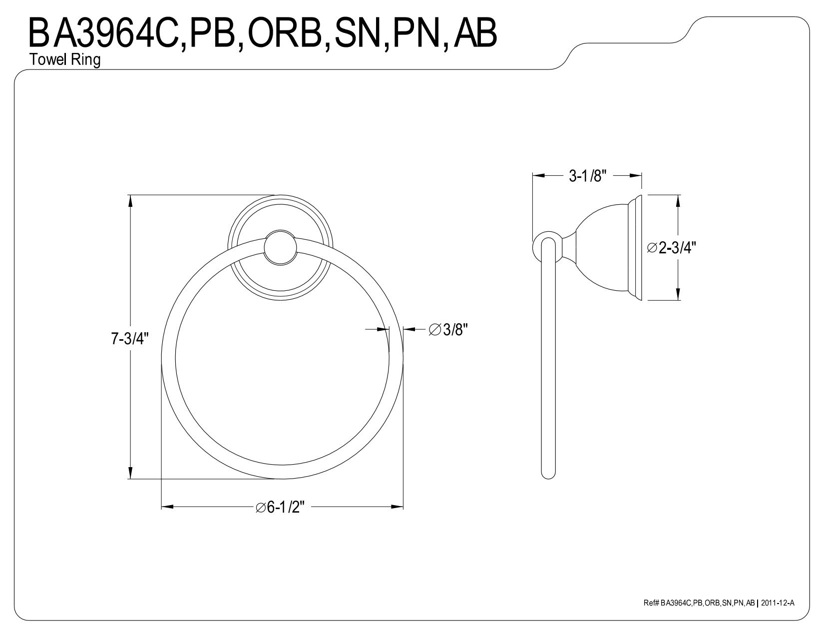 Kingston Brass BA3964ORB Restoration 6-Inch Towel Ring, Oil Rubbed Bronze