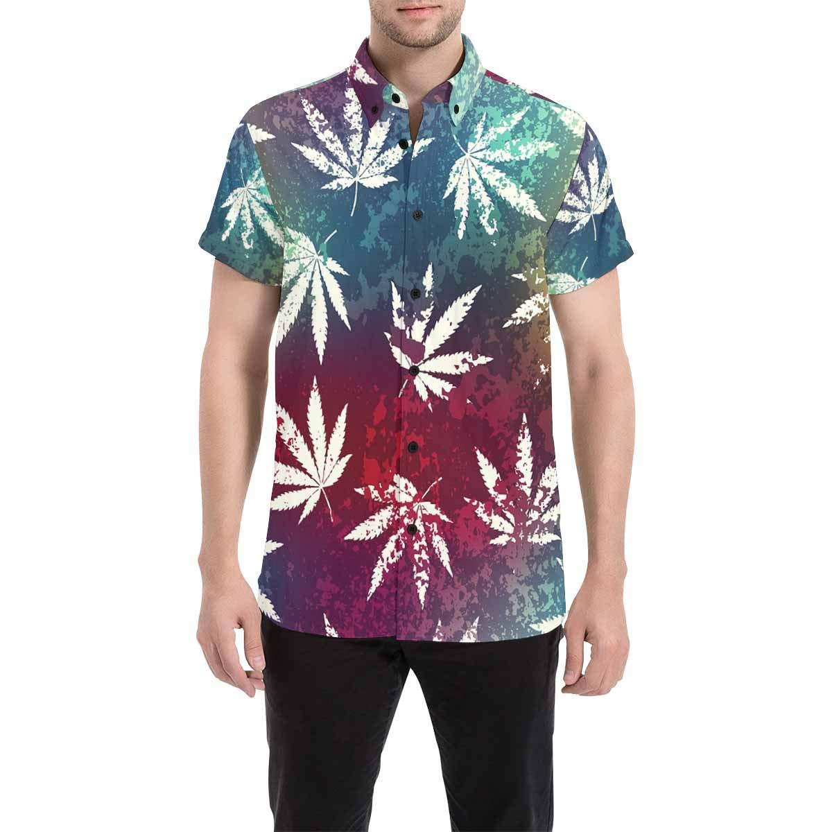 InterestPrint Mens Button Down Rainbow Triangles Print Casual Shirt Short Sleeve Shirts