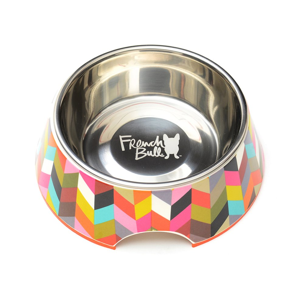 French Bull Stainless Steel and Melamine Ziggy Designer Dog Bowls for Dogs or Cats, Small