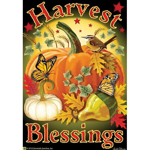 Harvest Blessings Pumpkin House Flag (Autumn Jeremiah Leaf)