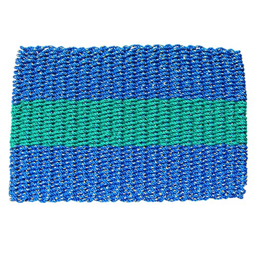(The New England Trading Company Lobster Rope Door Mats, Handwoven Nautical Rope Outdoor Reversible Entrance Mats, Blue with 1 Green Stripe, 18 x 30)