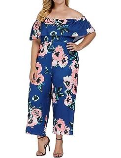 89e843b1aa Allegrace Women s Plus Size Floral Print Off Shoulder Jumpsuit Strapless  Ruffle Long Rompers