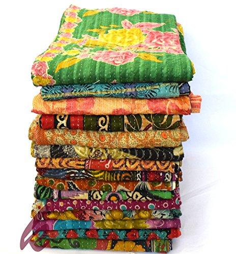 (khushvin 5pc Vintage Kantha Quilt Indian Antique Kantha Throw Reversible Kantha Bedspread Vintage Sari Throw Rug)