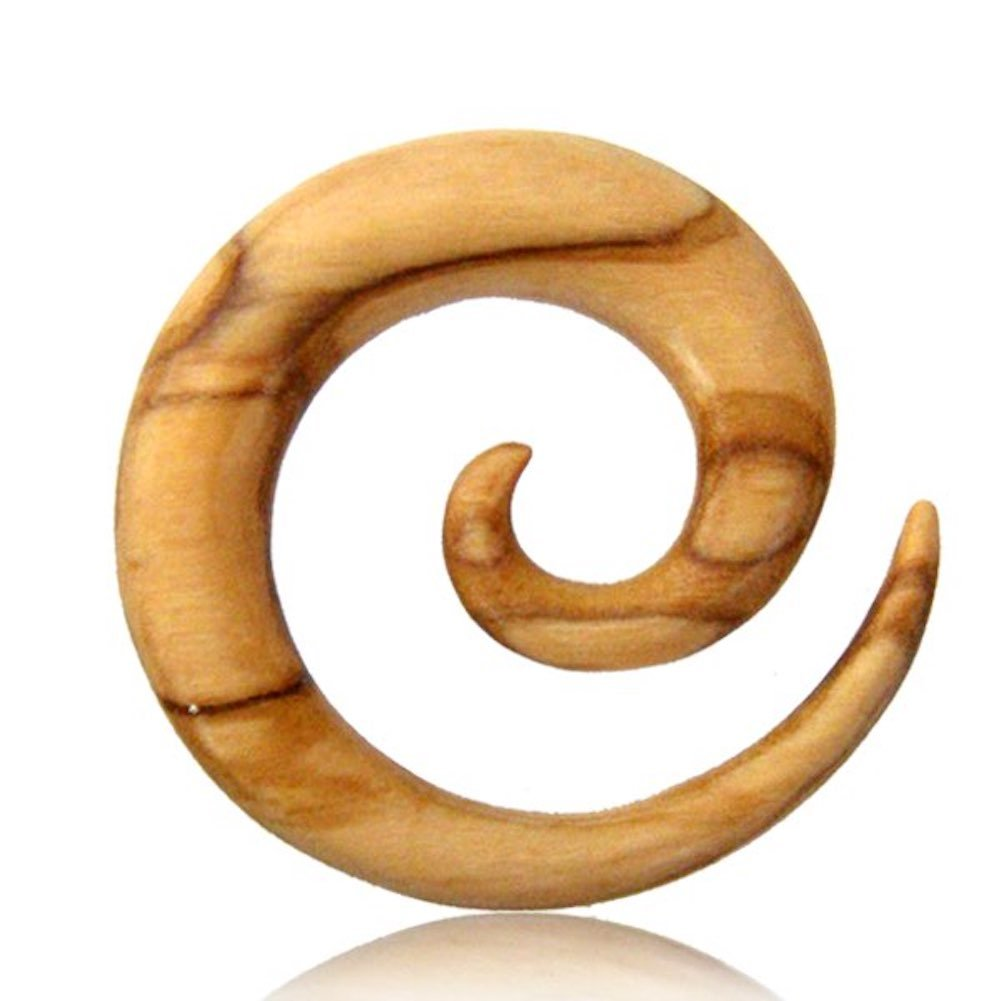 Earth Accessories Spiral Taper Gauge Earrings with Organic Wood - Sold as a Pair by Earth Accessories