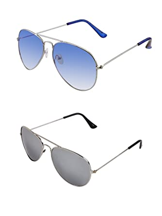 8a94ab909f4 SHEOMY COMBO OF STYLISH SILVER BLUE AVIATOR GOGGLES AND SILVER MERCURY  AVIATOR SUNGLASSES WITH 2 BOX Best Online Gifts  Amazon.in  Clothing    Accessories