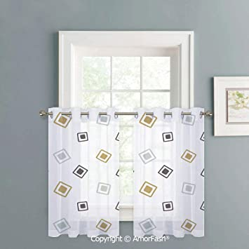 Amazon.com: Sheer Curtains for Kitchen Window Drapes with ...