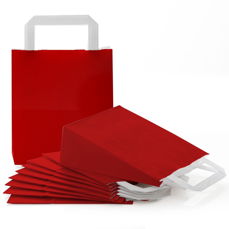 25sacchetti di carta piccoli, rosso scuro, con fondo rigido, natalizi, ideali come sacchetti regalo per Natale e compleanno Jeanette Dietl