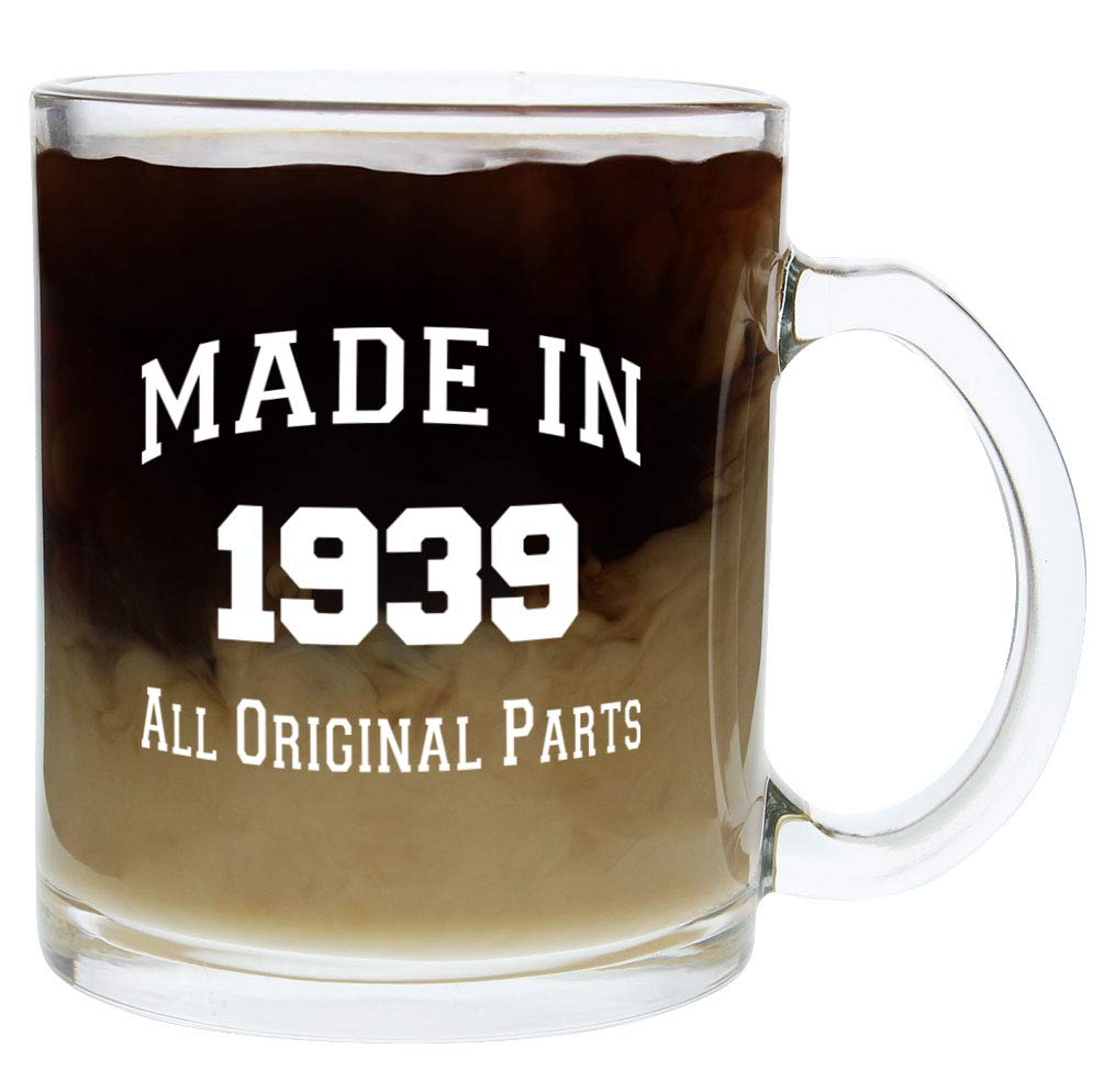 Amazon 80th Birthday Gift Ideas Made 1939 Party Supplies Glass Coffee Mug Tea Cup White Kitchen Dining