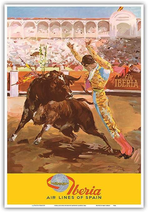Pacifica Island Art - Tauromaquia Matador - Iberia España - Póster de Viajes de Antonio Casero c.1962 - Impresión de Arte - 33 x 48 cm: Amazon.es: Hogar