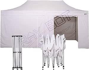 Ray Bot - Carpa plegable de acero de 3 x 6 m de color blanco con 4 lonas laterales de PVC de 350 g/metro