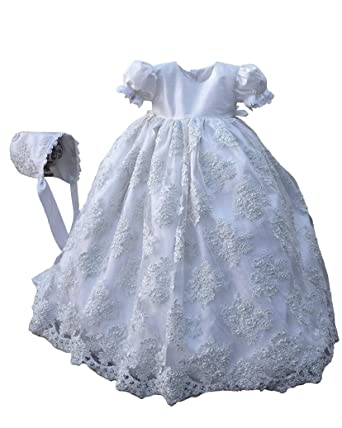 98e9662e6d2 Amazon.com  Faithclover Baby Girls Christening Gowns Ivory Beaded Lace  Special Occasion Dresses with Bonnet  Clothing