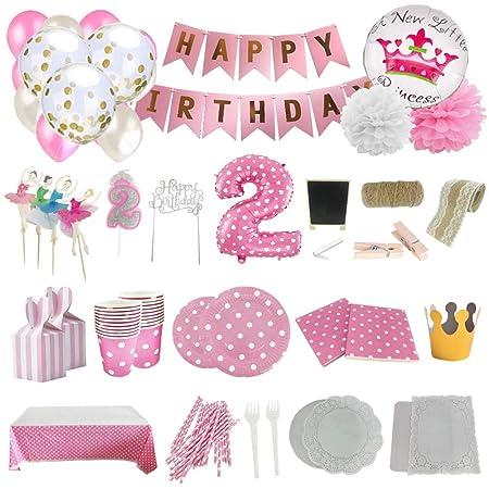 Set de Artículos Accesorios Completo para Decoración Fiestas Cumpleaños bebé Niña de 2 año Lote de 164 Piezas Sirve 16 Invitados