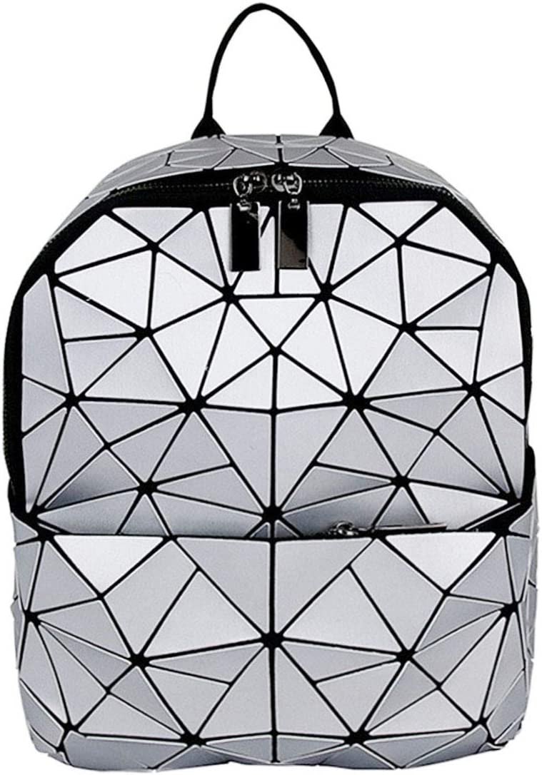 Van Caro Leather Luminous Backpack Geometric Reflective Travel Rucksack for Women Girls (Silver)