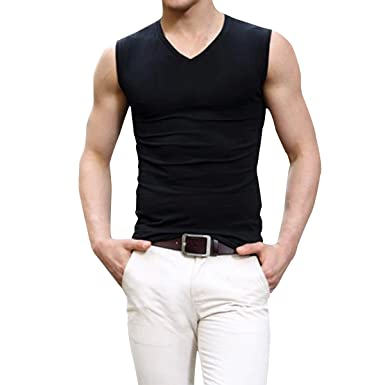 728e623d3014f Pishon Men s Sleeveless Tee Shirts Casual V-neck Crew Neck Fitted Muscle T-