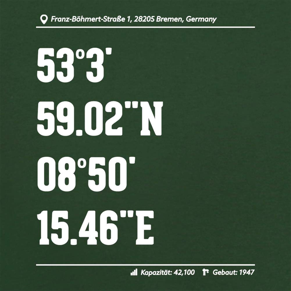 Dressdown Stadion Koordinaten Werder Bremen Unisex Hoodie//Kapuzenpullover