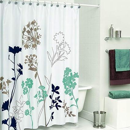 DS BATH Silhouette Flower Shower CurtainMildew Resistant Fabric CurtainPlants Curtains