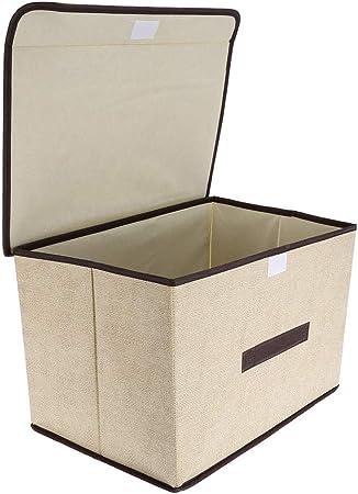 Caja de almacenamiento plegable organizador 2 piezas/juego con cubierta para ropa libros juguetes apilables imitación lino no tejido contenedores de almacenamiento beige: Amazon.es: Hogar