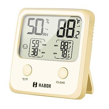 Habor - Termómetro digital para interiores (tamaño grande, higrómetro, higrómetro digital, termómetro