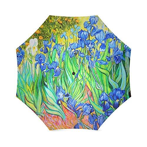 Vincent Van Gogh Painting Irises Anti Rain Windproof Travel Golf Sports Foldable Umbrella