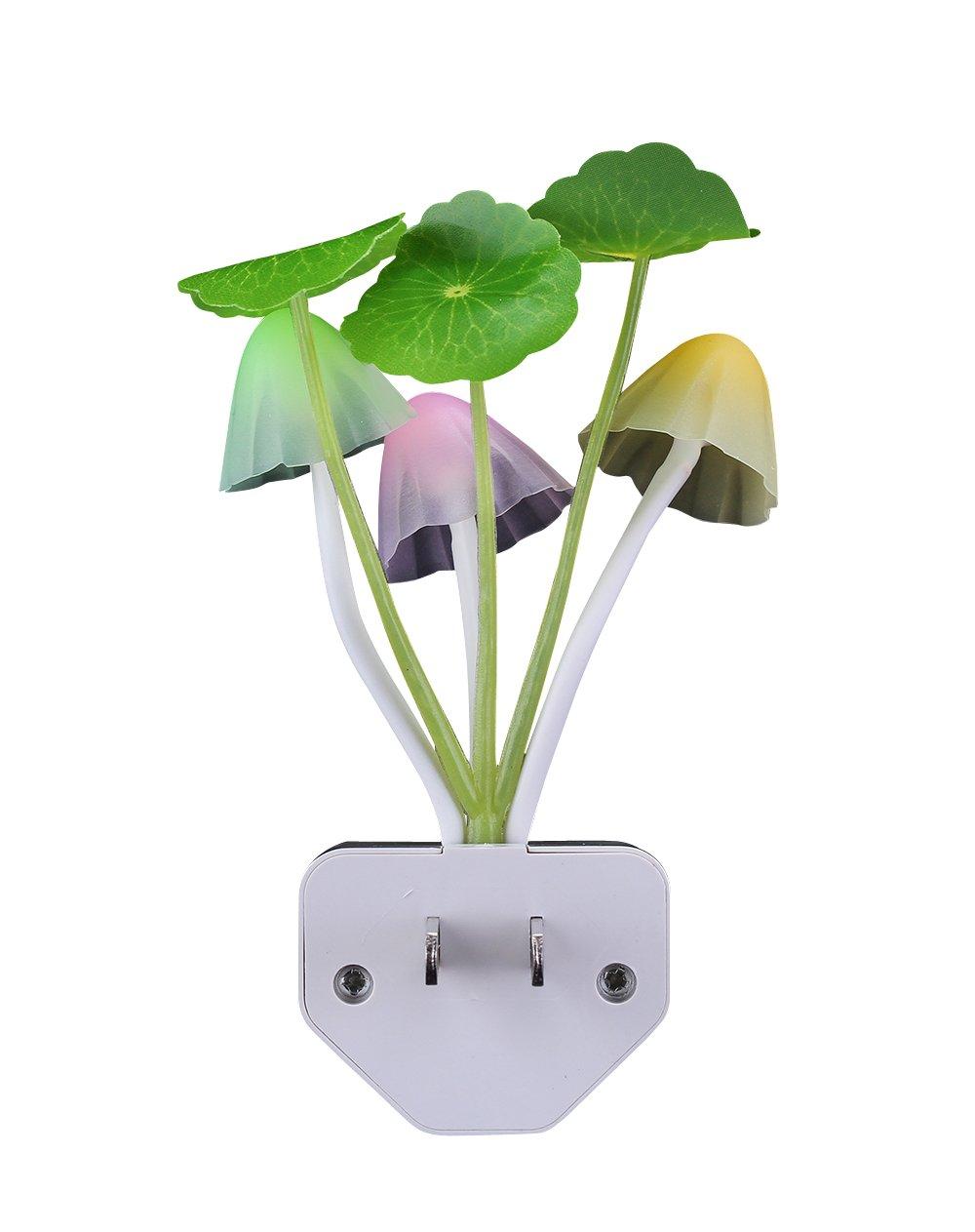 Sensor Led Night Light, Color Changing Plug-in LED Mushroom Dream Bed Lamp