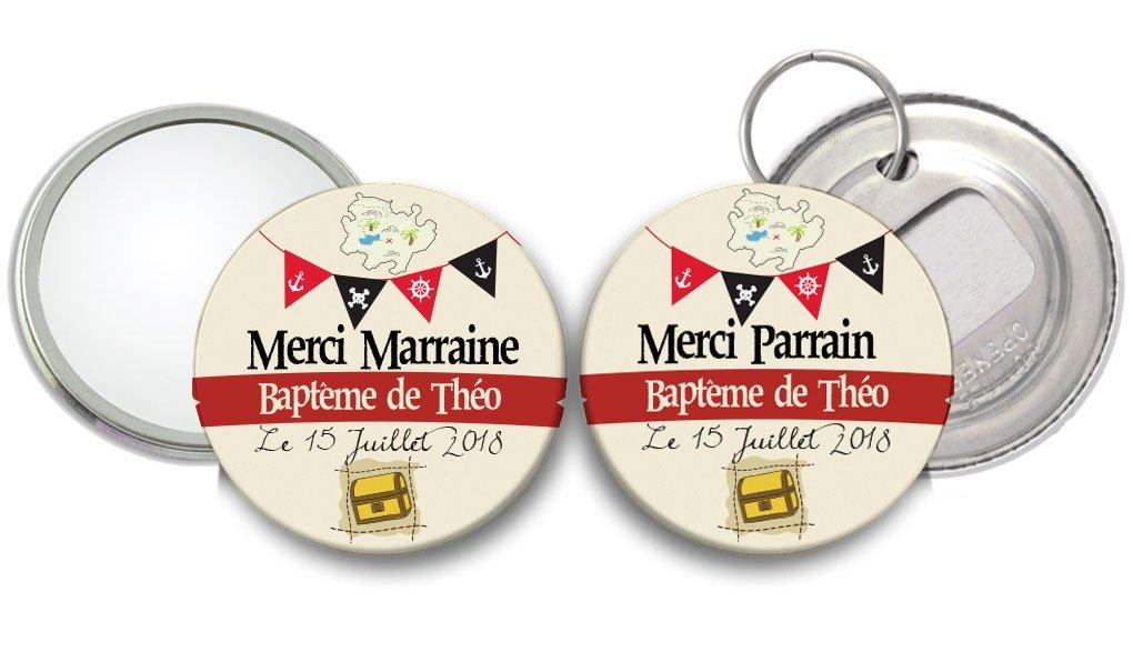 miroir et décapsuleur Merci Marraine Merci Parrain thème Pirate