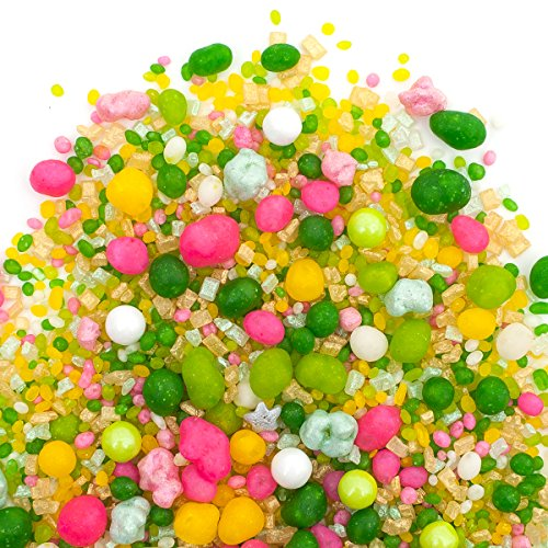 35% OFF! (Reg. Price $14.95) | Candy Sprinkles | Palm Springs Candyfetti | 8oz Jar | Green Yellow Gold White and Pink | MADE IN THE USA!