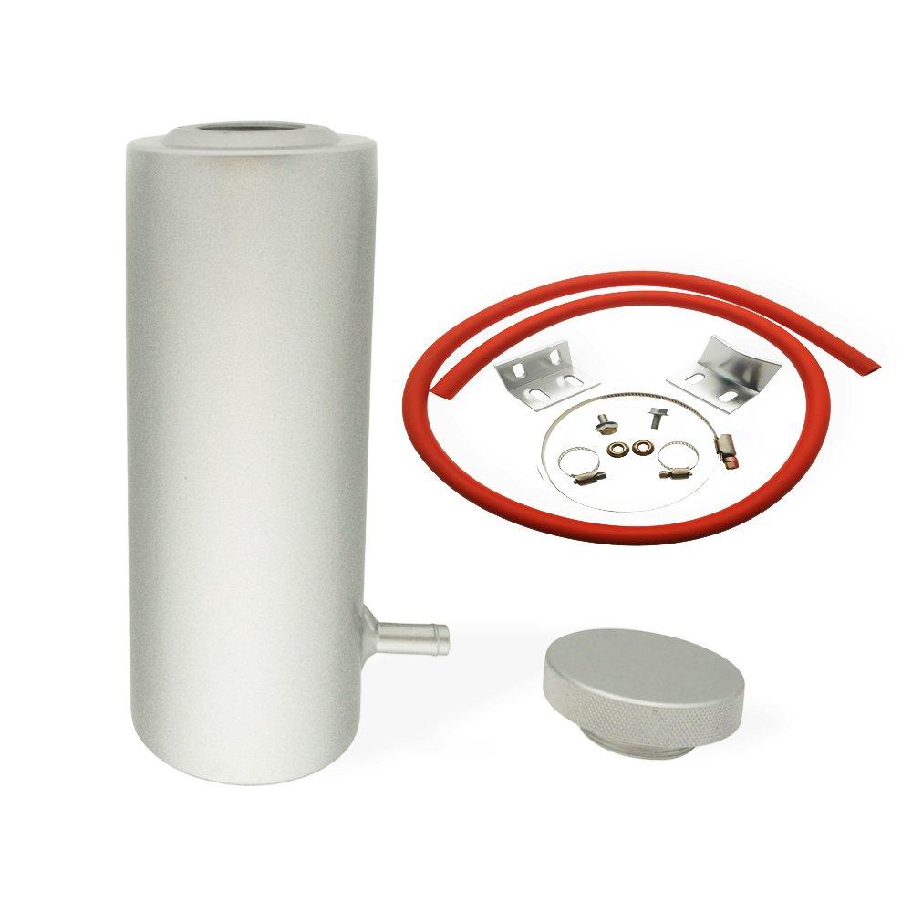 Heinmo Universal 7.5' x 3' Cylinder Aluminum Engine Radiator Overflow Reservoir Tank Silver Heinmo Plus