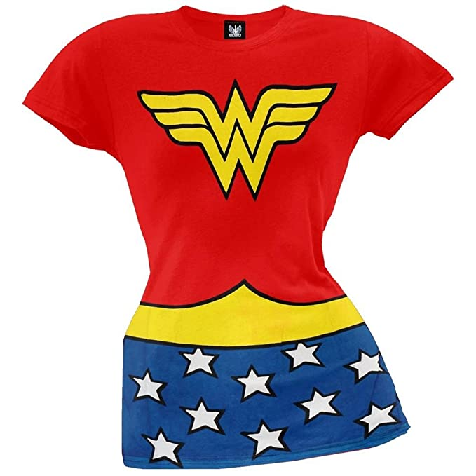 ca6b88b7 Amazon.com: Wonder Woman - Classic Juniors Costume T-Shirt - Small ...