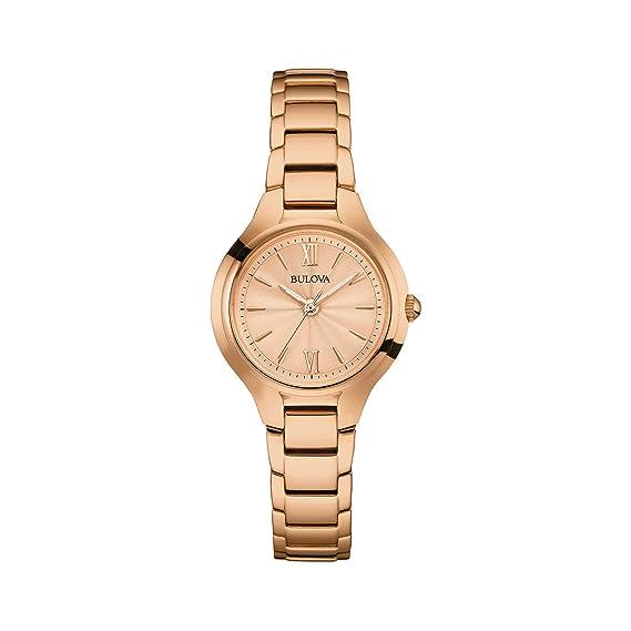 Bulova Reloj Funda para Mujer Pulsera - Oro Rosa clásico Disfraz de muñeca Reloj 97L151: Amazon.es: Relojes