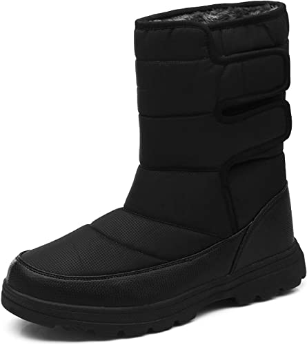 Mens Winter Snow Boots Outdoor Anti-skid Fur-Lined Lace Up High Top Warm Shoes