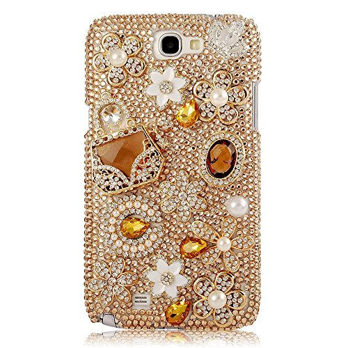 EVTECH(TM) 3D Handmade Bling Gold Crystal Flower Rhinestone Fashion Bags Diamond Design Hard Case Cover for Samsung Galaxy Note II 2 N7100 I605 L900 I317 T889 T-mobile Version (100% Handcrafted)