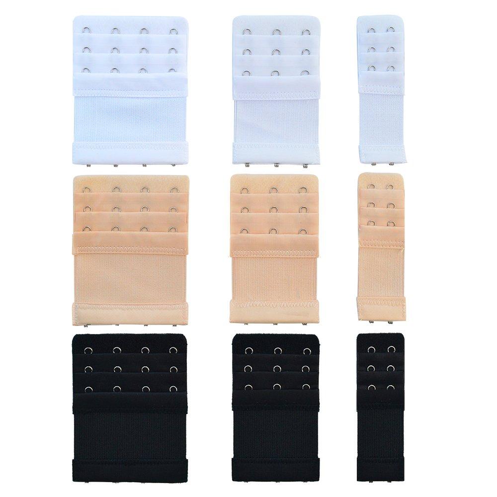 9 Pcs 3 Sizes Bra Extender, Bantoye Nylon Elastic Lingerie Extenders for Women 3 Rows x 2 Hooks/3 Hooks/4 Hooks, Black & White & Nude 4337006347