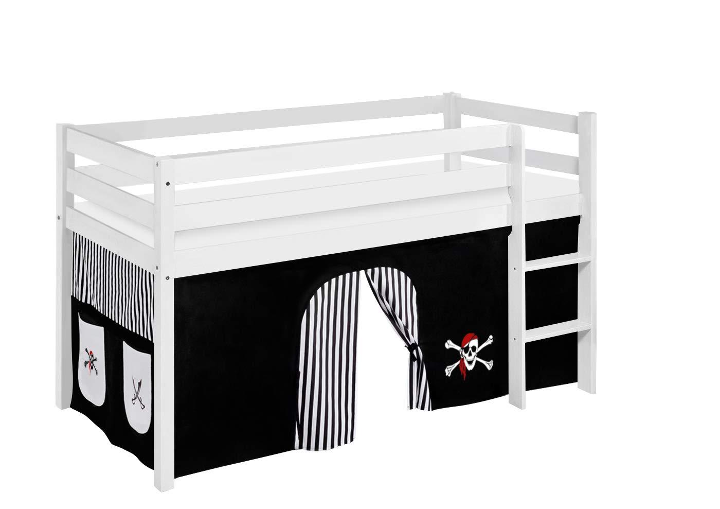 Lilokids Spielbett JELLE Pirat Schwarz Weiß - Hochbett weiß - mit Vorhang