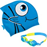 Swim Goggles with Cap, HiFives Kids Swimming Goggles with Swim Cap in Case, No Leaking Anti Fog UV Protection, Blue/Yellow
