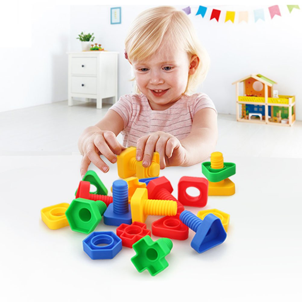 Jumbo Nuts and Bolts Toys for Toddler Kids Girls Boy 1 2 3 4 5 Years Old 24PCS LotFancy Fine Motor Matching Toys with Storage Case for Preschoolers Montessori Education