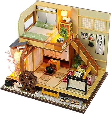 Puppenhaus Miniaturmöbel Kit mit LED-Licht Holz Sushi Shop House DIY Kinder