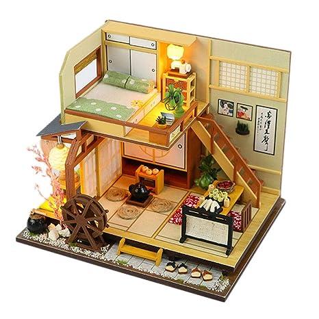 Amazon Com Dollhouse Miniature Diy Small House Kit Wooden Creative