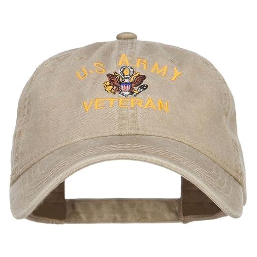 US Army Veteran Military Embroidered Washed Cap - Khaki OSFM at ... f8b286643996