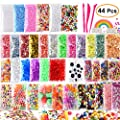KUUQA 44 Packs Slime Making Kits Supplies,Including Googly Eyes,Fishbowl Beads, Foam Balls, Glitter, Slices, Confetti, Storage Containers, Slime Tools for DIY Craft Homemade Slime
