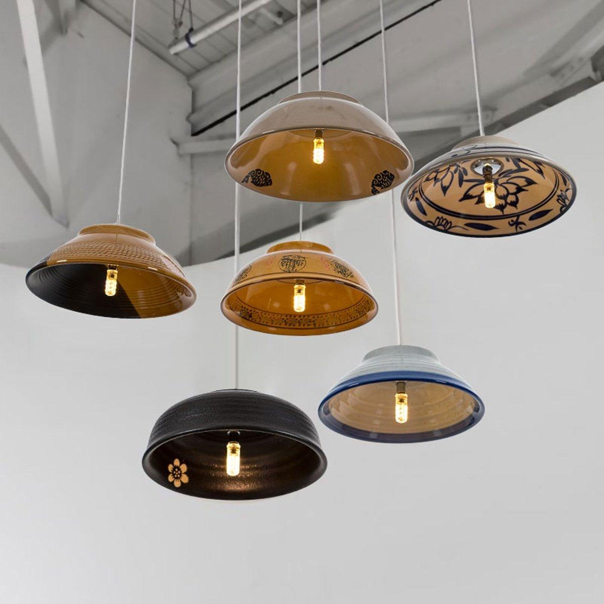 Amazon.com: FRTEJ Lámpara colgante de cerámica hecha a mano ...