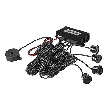 Radar de Aparcamiento LED Pantalla Cuatro Sensores Zumbador Único Negro: Amazon.es: Electrónica