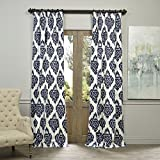 Half Price Drapes PRTW-D24A-96 Printed Cotton Curtain, Ikat Blue