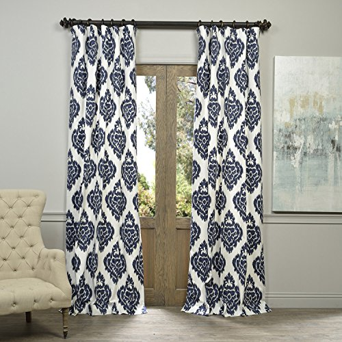 Half Price Drapes PRTW-D24A-96 Printed Cotton Curtain, Ikat (Blue White Pattern)