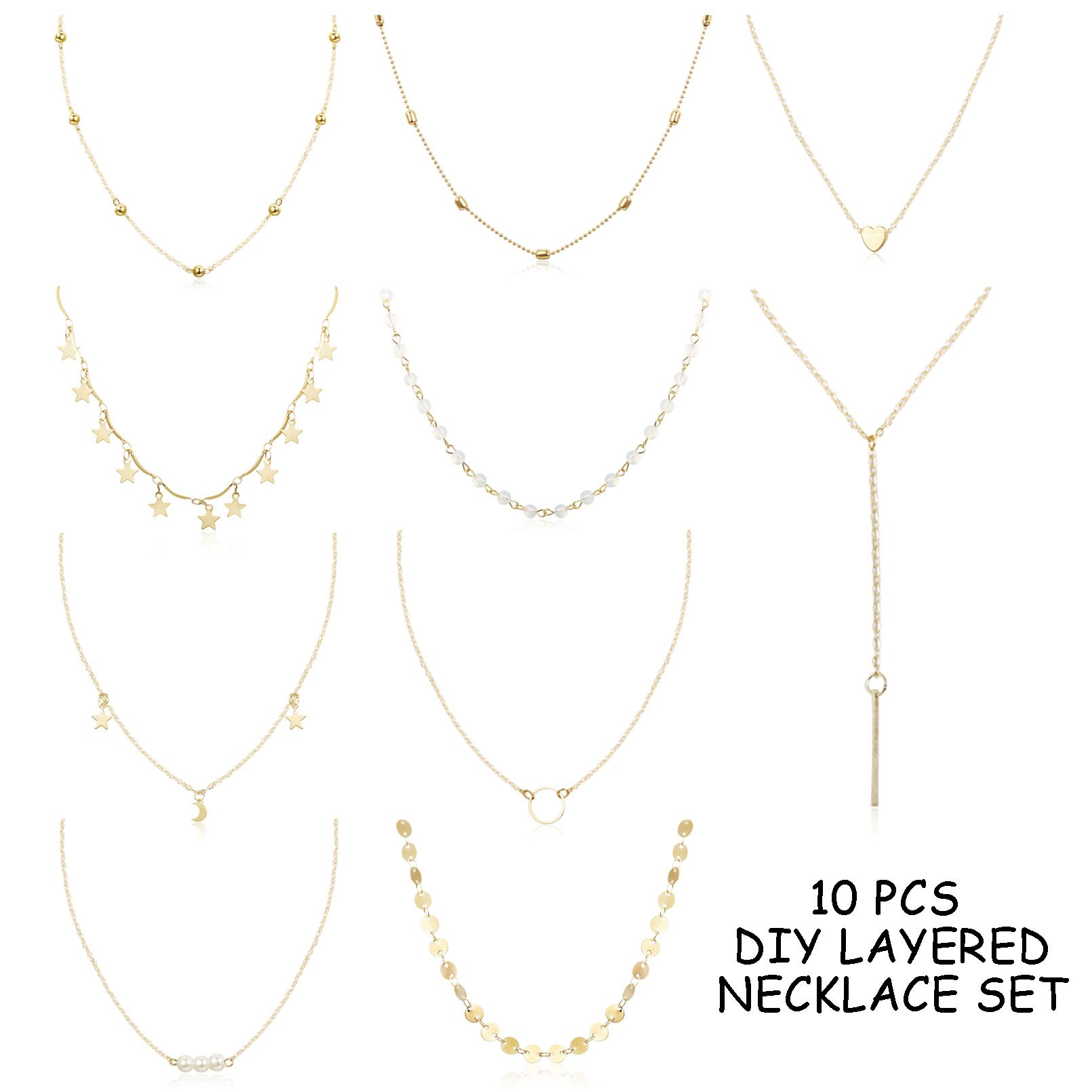 FUNRUN JEWELRY 10PCS Layered Choker Necklace for Women Girls Sexy Coin Star Multilayer Chain Necklace Set Adjustable Gold-Tone