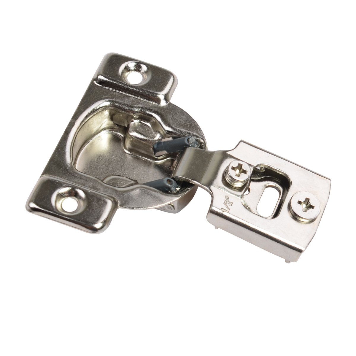 108 Degrees Compact 1/2'' Overlay 35mm Face Frame Cabinet Hinge, 10-Pack (5 Pair), Nickel Plated Finish