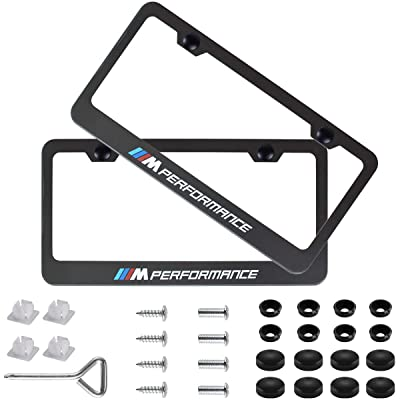 Fubai Auto Parts 2pcs M Performance Stainless Steel License for BMW Plate Frame with Screw Caps Cover Set, Matte Black (BMW M Performance): Automotive